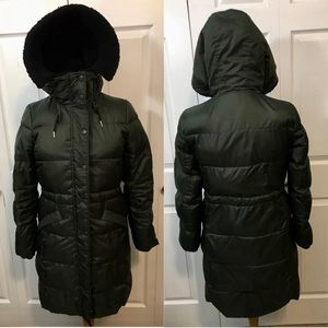Coach Olive Green Solid Long Puffer Coat
